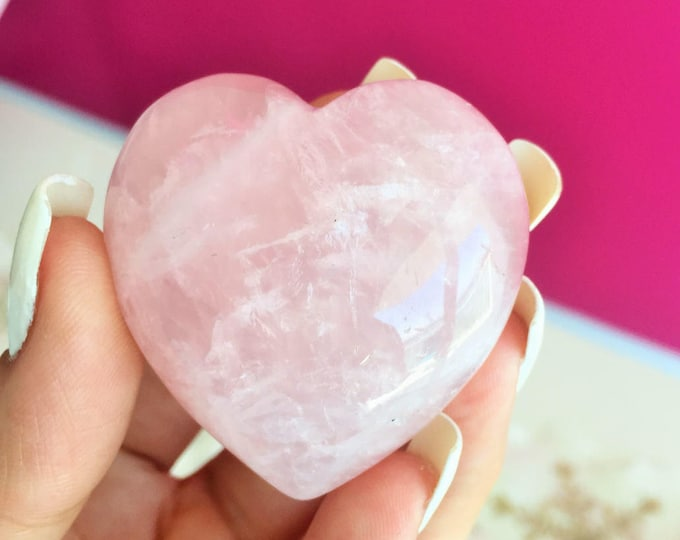 Large Rose Quartz Heart  Perfect for LOVE Crystal Grids