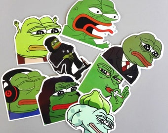 Rare Pepe Waterproof pepe stickers (8 assorted rare pepes) limited availability