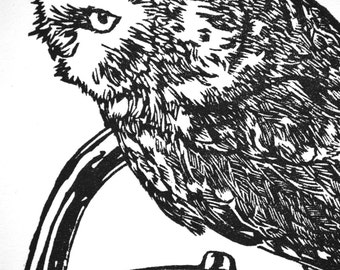 "Owl with Teapot, hand carved woodblock print, 10""x12"""