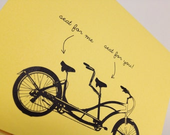 Tandem bicycle card, love or friendship - blank inside
