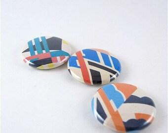3 Fridge Magnet Set / Pop Art in Blue / magnabilities / retro / geometric