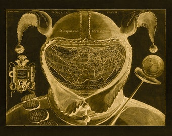 Fools Cap of the World Map - Canvas Print