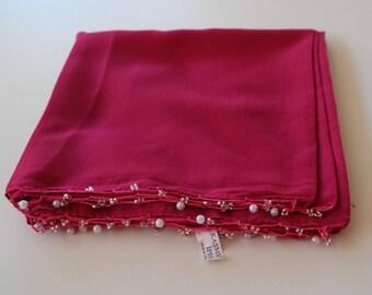 Turkish Scarf, Oya scarf, Pink Scarf, Needle work Scarf, Tatting Scarf, Sided Scarf, Head Scarf, Scarf with beads