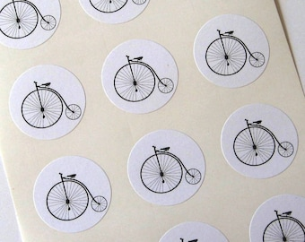 Penny Farthing Bicycle Stickers - One Inch Round Seals