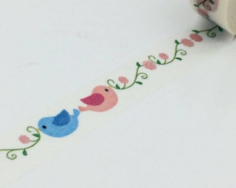 Masking tape birds love Washi tape, repositionable deco tape - 10 m