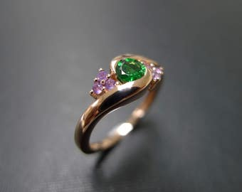 Green Garnet Rings,  Engagement Rings, Wedding Rings, Jewelry Bands, Amethyst Rings, Gemstone Band, 14K Rose Gold Ring