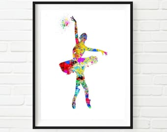 Ballerina Watercolor Painting Art Print Wall Decor Home Decor Instant Download Printable Colorful Dancer Ballet