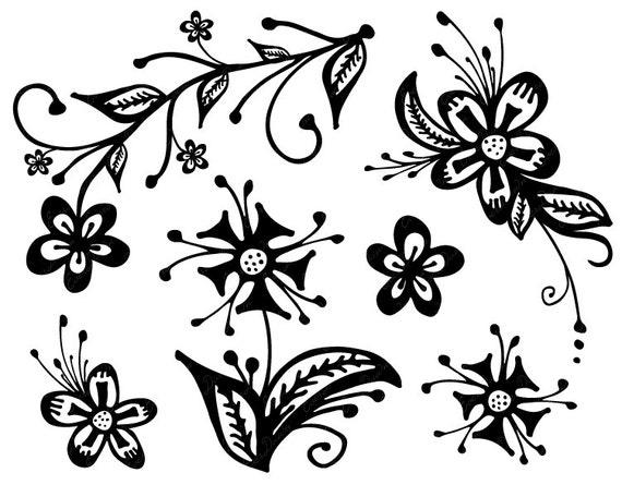 Hand gezeichnete Blumen / / handgezeichnete ClipArt Blumen / /