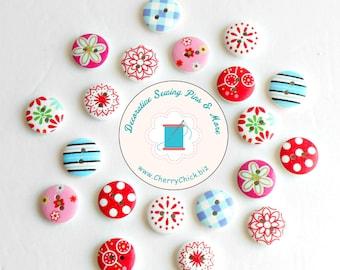 Floral buttons - Gingham buttons - Polka Dot buttons - Wood buttons - Buttons for Sewing - Quilting buttons - Scrapbooking buttons