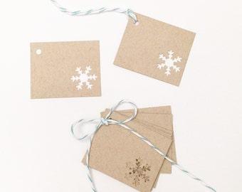 Tiny Snowflake Gift Tags - Set of 10 - Snowflake Favor Tags - Wedding Favor Tags - Kraft Gift Tags - Rustic Christmas Tags - Small Gift Tags