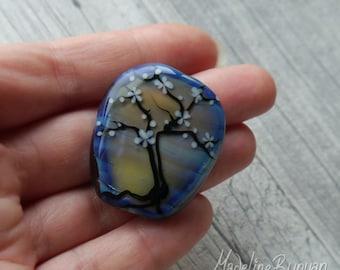 Cherry Blossom Tree, Blue & yellow shimmery, shiny, misty morning,Focal Bead, silhouette, sakura, handmade, pendant bead, tree bead