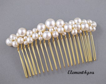 Bridal comb pearl Hair Accessories Wedding hair piece Swarovski white or ivory pearls Beaded gold comb Veil attachment Tiara Fascinator