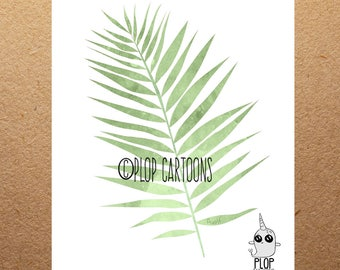 Palm Leaf Watercolor Art Print