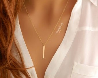 GOLD Vertical Bar Necklace, Long Bar Necklace, Skinny Bar Necklace, Minimalist Necklace, Modern Jewelry, Layer Necklace, Simple Necklace
