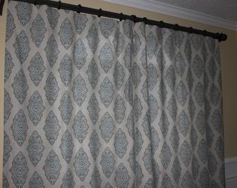 CHOOSE YOUR FABRIC!- Custom Window Curtain/ Drape/ Panel- Premier Prints Monroe Cadet/Oatmeal