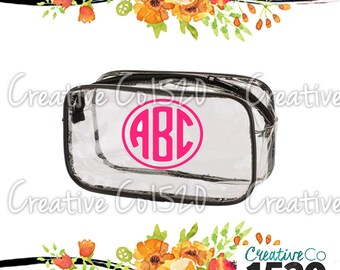 Round Monogram Clear Makeup Bag | Custom Makeup Bag | Clear Makeup Bag Wedding | Bridesmaid Gift | Bridesmaid Gift Idea | Clear Clutch