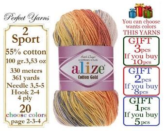 Alize Cotton Gold Batik, Knitting Yarn, Soft Yarn, crochet yarn, baby yarn, multicolor yarn, hypoallergenic yarn, cotton yarn, turkish yarn