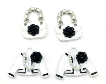 4 clothing charms,enamel silver tone,20mm to 23mm #CH 621