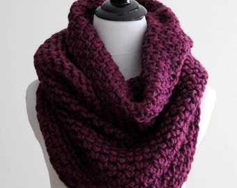 Knit cowl in berry, Over-sized cowl, COZY CABIN COWL, Chunky cowl, Hand-knit cowl, Snood, Tube scarf, Knit cowl, chunky scarf, Neck warmer