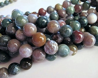 10mm Indian AGATE Beads in Earth Tone Green, Brown, Gray Shades, 38 Pcs, Natural Stone, Round Smooth
