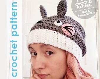 totoro crochet pattern, totoro hat, crochet slouchy hat, slouchy hat, anime, crochet totoro hat, pom pom hat, winter hat, studio ghibli
