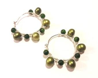 Green Pearl Hoop Earrings with Silver Wire Work, Handmade Jewelry, Sundance Style Earrings, Boho Earrings, Gypsy Style