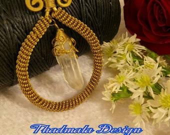 boho brass wires and rough quartz necklace