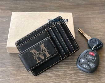 Anniversary gifts for Him, Black Leather Money Clip Wallet, Mens Leather Wallet, Husband gift Money Clip wallet Mens Personalized Money Clip
