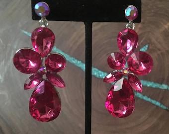 Pink large rhinestones earrings, hot pink chunky earrings, fuschia prom earrings, pageant earrings, aqua earrings, AB earrings, red earrings