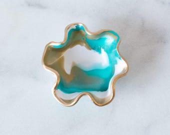 Ring Dish-Turquoise, Desk Storage, Jewelry holder Turquoise, Ring Dish with Gold Rim, Marbled Ring Dish, Colorful Jewelry Storage