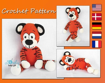 Crochet Pattern, Amigurumi Pattern, Animal Crochet Pattern, Tiger,  CP-130