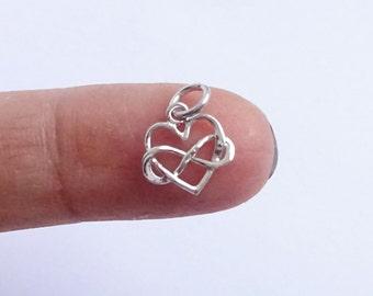 Sterling Silver Mini Infinity Heart Charm...  1 piece