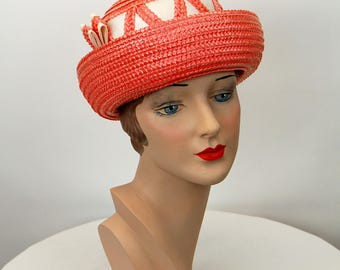1960s hat straw hat pink white breton style by Ronnie New York Size 21 Easter hat Spring hat