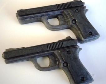 2 Pistol Soaps Dark Silvery Gray - SQUEAKY CLEAN SCENT - Vegan guest bath decorative gun rifle shoot bullet