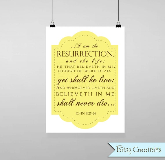 Easter Scripture in YELLOW Subway Art Printable Wall Art by