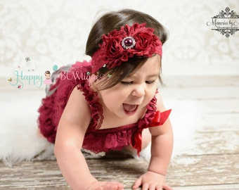 Valentine's Burgundy Lace headband,Burgundy Headband,Cranberry headband, M2M Baby Girl's Burgundy Romper,holiday headband,Girl's Burgundy