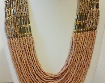 Mocha Gold Statement Necklace / Multi Strand Necklace / Beaded Necklace.