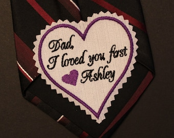 Dad I loved you first wedding heart Tie Patch, tie label, Beautiful Monogrammed Tie Patches, Best Father of the Bride Gift, Label, TSH21F38