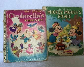 Two Disney Little Golden Books- Cinderella's Friends & Mickey Mouse's Picnic