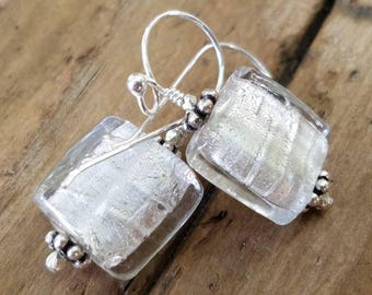 Silver Murano Glass Earrings and Sterling Silver, White Lampwork Glass Earrings and Hill Tribe Silver, Silver Glass Earrings