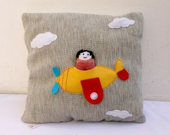 airplane and doll  handwoven pillow toy