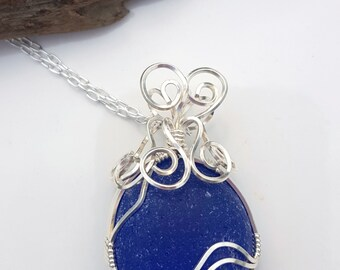 Sea Glass Necklace Sea Glass Jewelry Cobalt Blue Sea Glass Wire Wrapped Sea Glass Pendant Mothers Day Gift  N-619 Mothers Day Sale