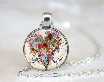 Heart Necklace Flower Necklace Flower Jewelry Heart Jewelry Glass Tile Jewelry Pink Jewelry Silver Jewelry Brass Jewelry Silver Necklace