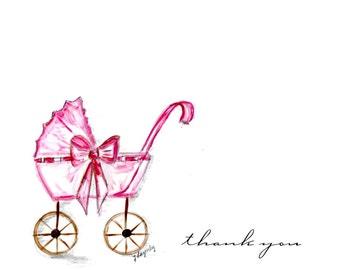 Children baby girl   shower new baby personalized notecards, custom personalized notecards,