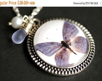 MOTHERS DAY SALE Dusky Blue Moth Necklace. Blue Butterfly Pendant with Fresh Water Pearl Charm and Light BLue Teardrop. Blue Necklace. Handm
