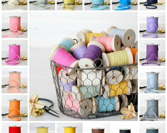 """109 Yards Spool - Cotton Ribbons - 20 Colors of Cotton Ribbon - 100% Cotton Ribbons - 1/4"""" wide - Eco Friendly - Bulk - Colorful Ribbons"""