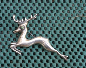 Vintage 1940s signed  Mexico silver reindeer Brooch / pin