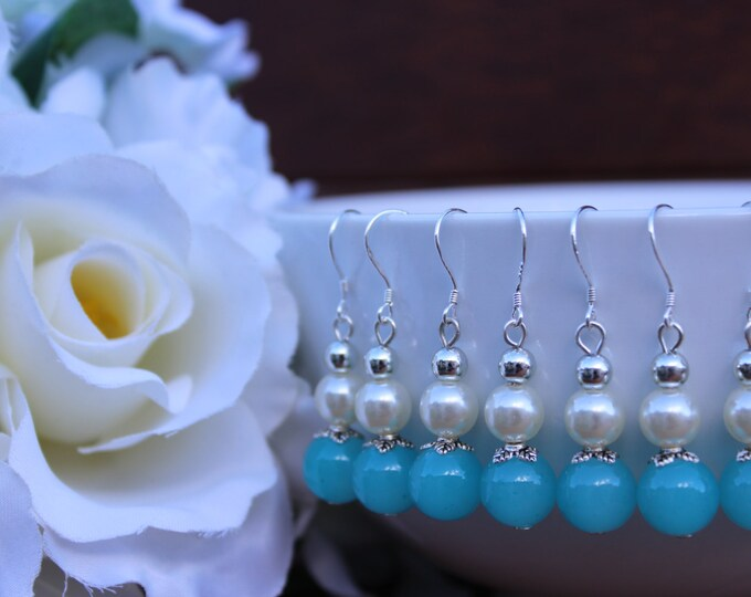 Sky Blue Pearl Bridesmaids Earrings