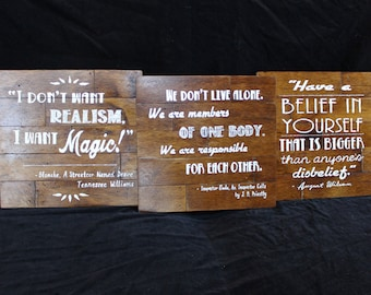 Playwright Quote Art Theatre Theater Shakespeare Wilson Williams Priestley Miller Play Handmade Salvaged Reclaimed Prop Set Thespian Sign