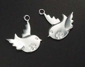 2 of 925 Sterling Silver Bird Charms 14x15mm. Polished Finish  :tm0044